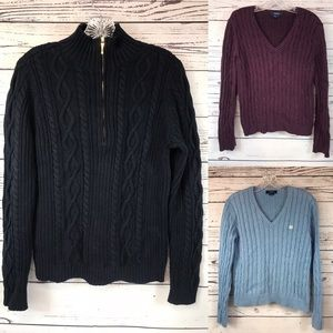 3 Ladies CHAPS Cable knit Sweaters M